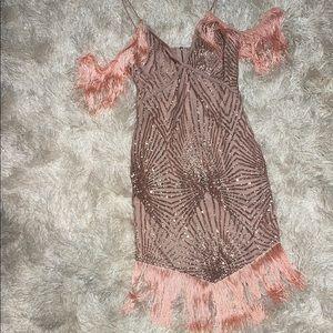 Pretty Little Thing Glittery Fringe Dress